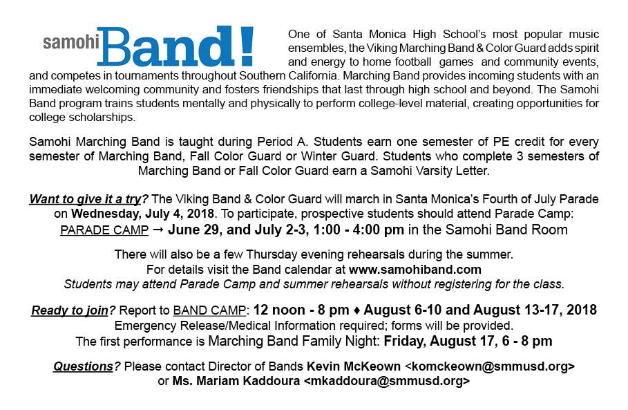 Marching band santa monica high school bands marching postcard2018 1 marching postcard2018 2 altavistaventures Gallery